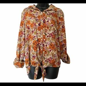 KUT from the Kloth Floral Tie Front Blouse Large